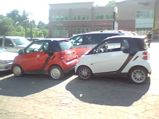 Two Smart Cars in one parking spot