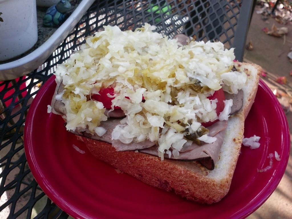 Roast beef and homemade sauerkraut sandwich