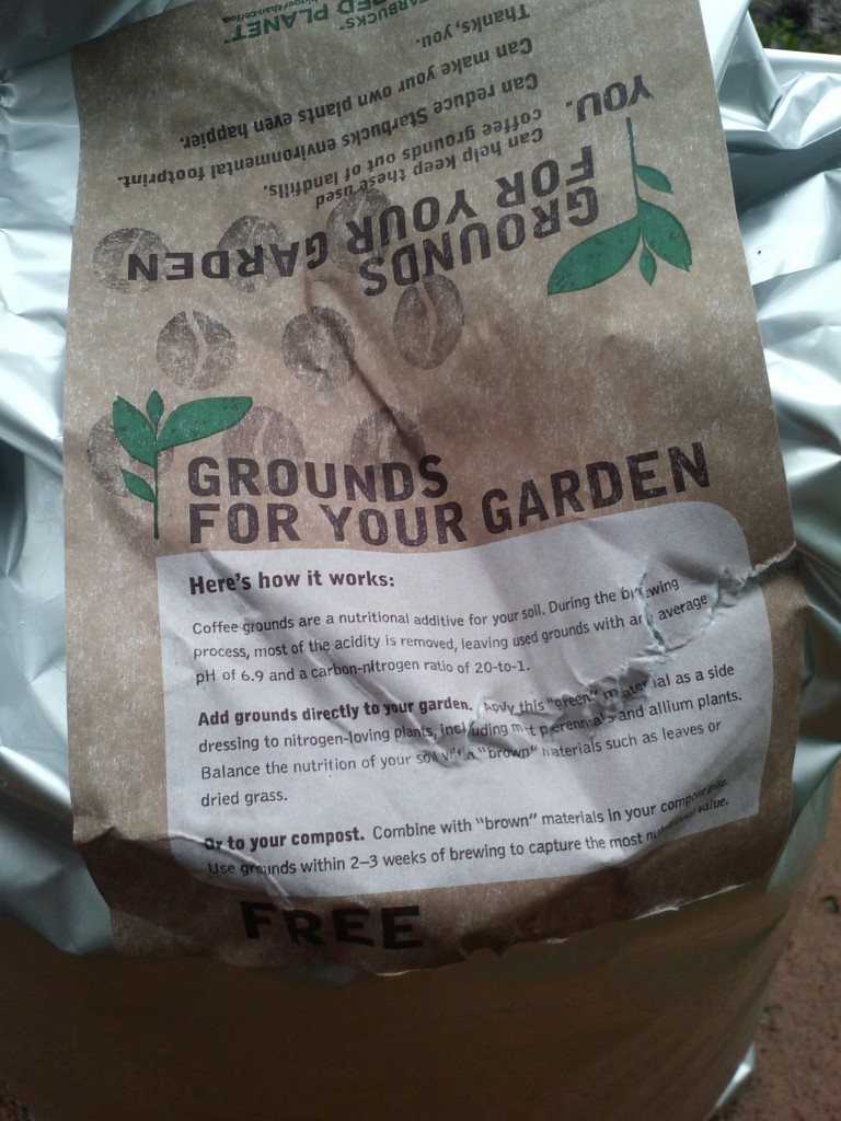 Bag of used coffee grounds