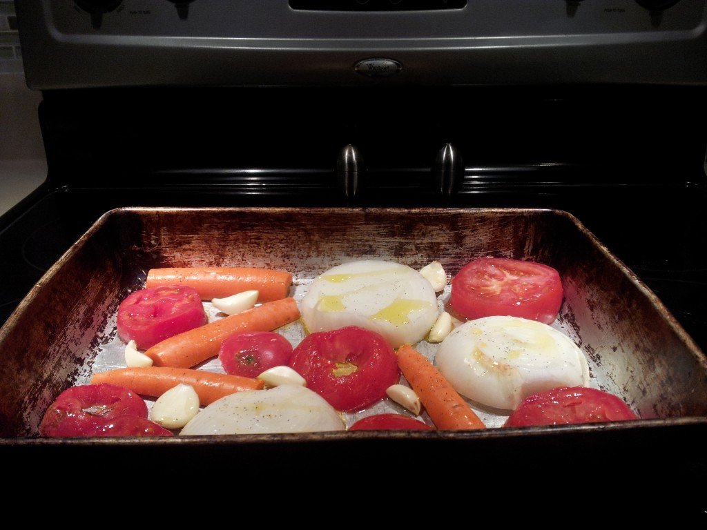 Roasting vegetables for garlic habanero sauce
